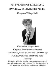 Poster for an evening of live music in Kingston Village Hall, with a photo of singer Val Sinclair